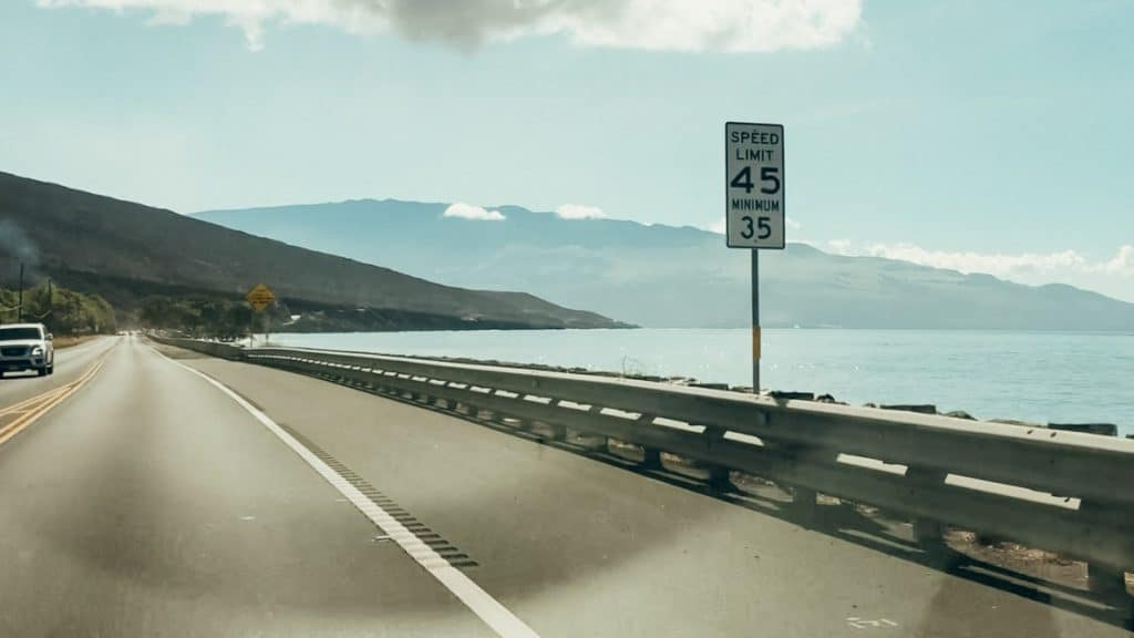 Maui dangerous to drive speed limit sign