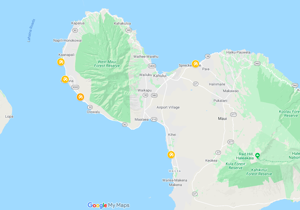 Map of Baby Beaches in Maui