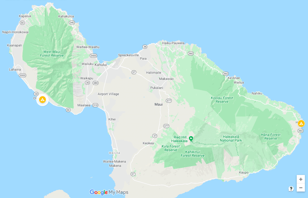 Maui Glamping Locations Map