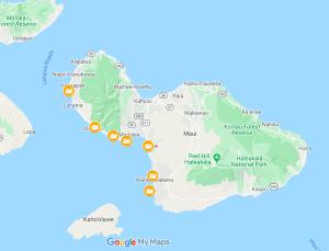 Maui Whale Shoreline Viewing Locations Map