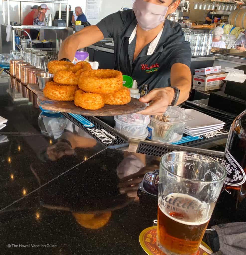 best happy hour lahaina onion rings waikiki brewing