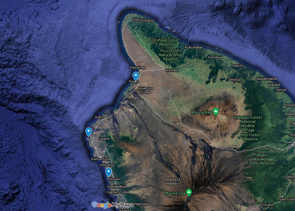 Manta Ray 3 night snorkeling locations on the Big Island