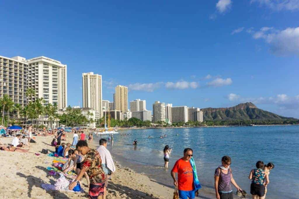 Waikiki Beach Crowded