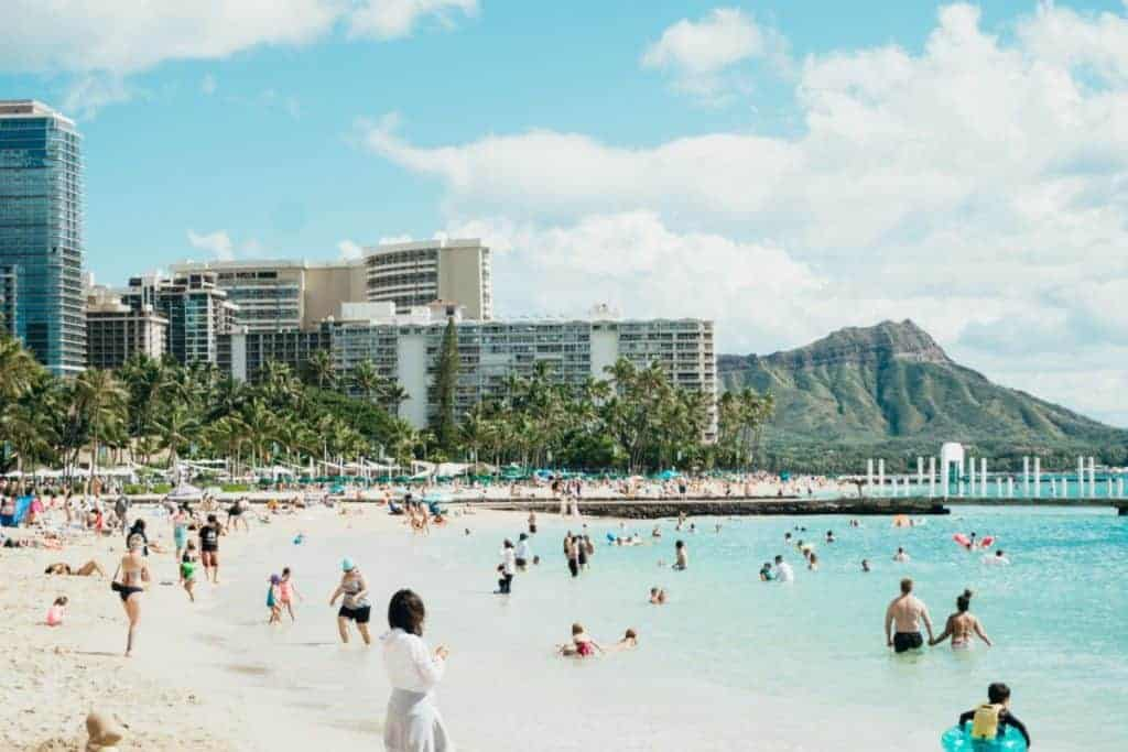 Waikiki Beach with Diamond Head is Famous