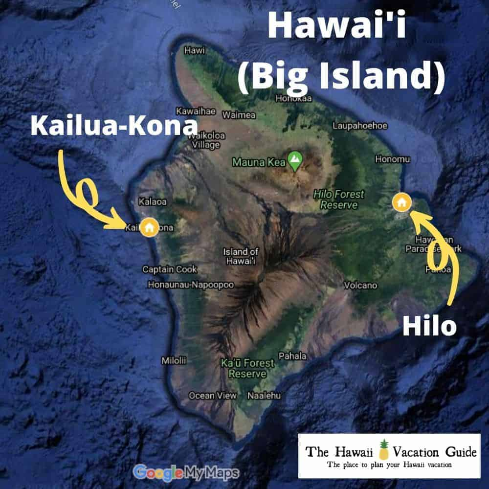 Hilo or Kona to Stay Map of Hawaii