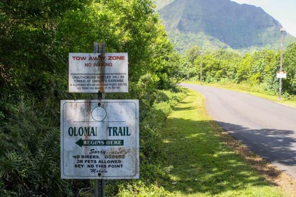 Olomana Trail Sign Best Hawaiian Island for Hiking