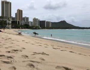 Waikiki Beach Empty Coronavirus
