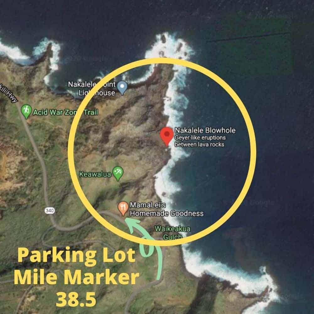 Nakalele Blowhole Parking Map