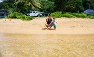 Kauai Anini Beach Family Friendly with our Toddler