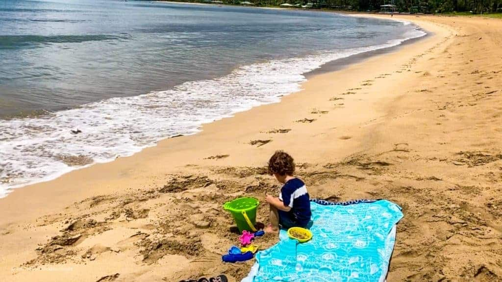 Hanalei Beach Kauai Kid friendly beach with Henry