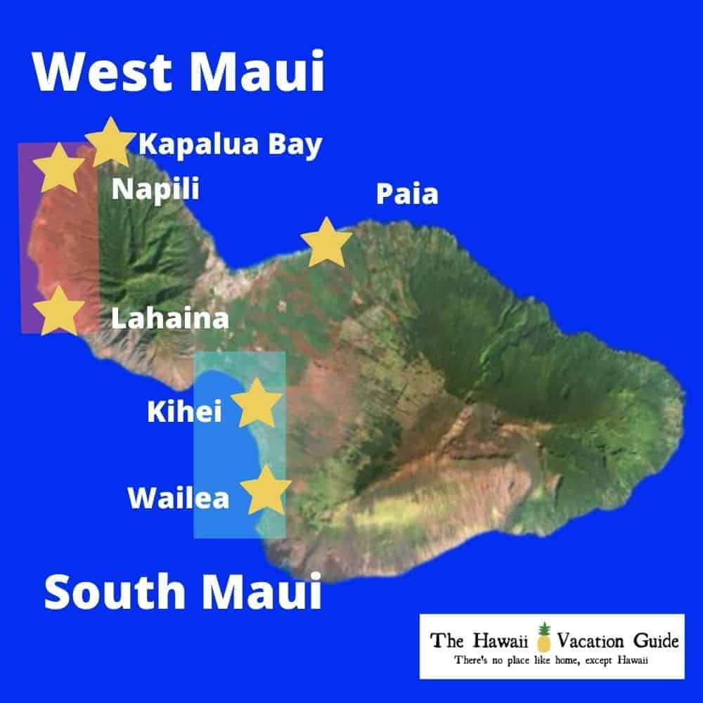 Map of Maui with Best Kid Beaches on Maui