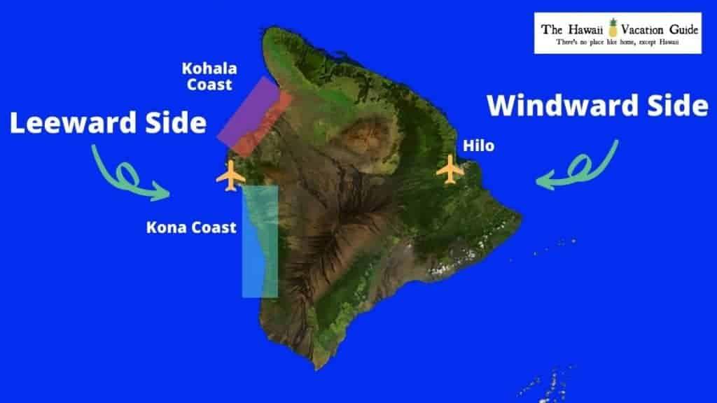 Big Island travel guide map of Island of Hawaii resort areas