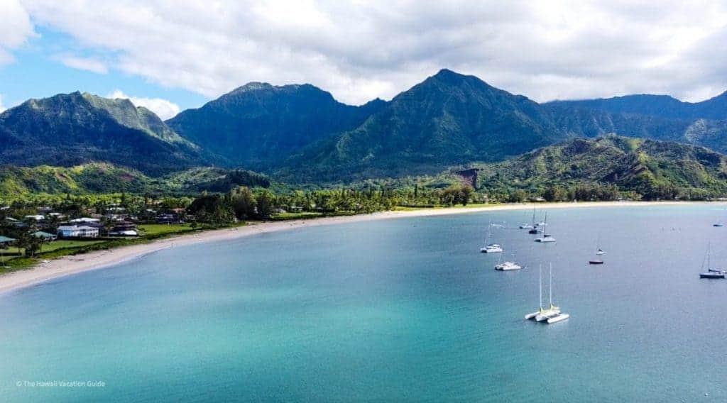 Hanalei Beach at Hanalei Bay in Kauai Aerial Picture