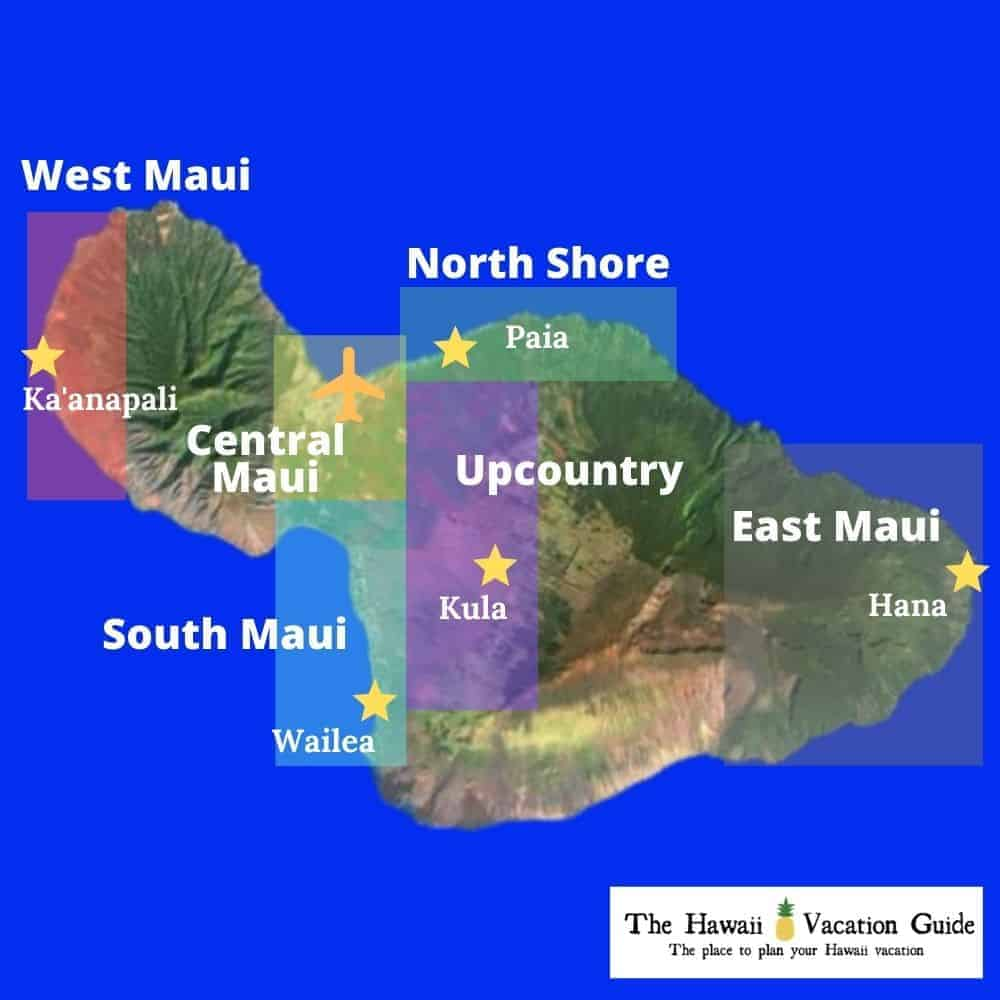 Maui Travel Guide Areas Map