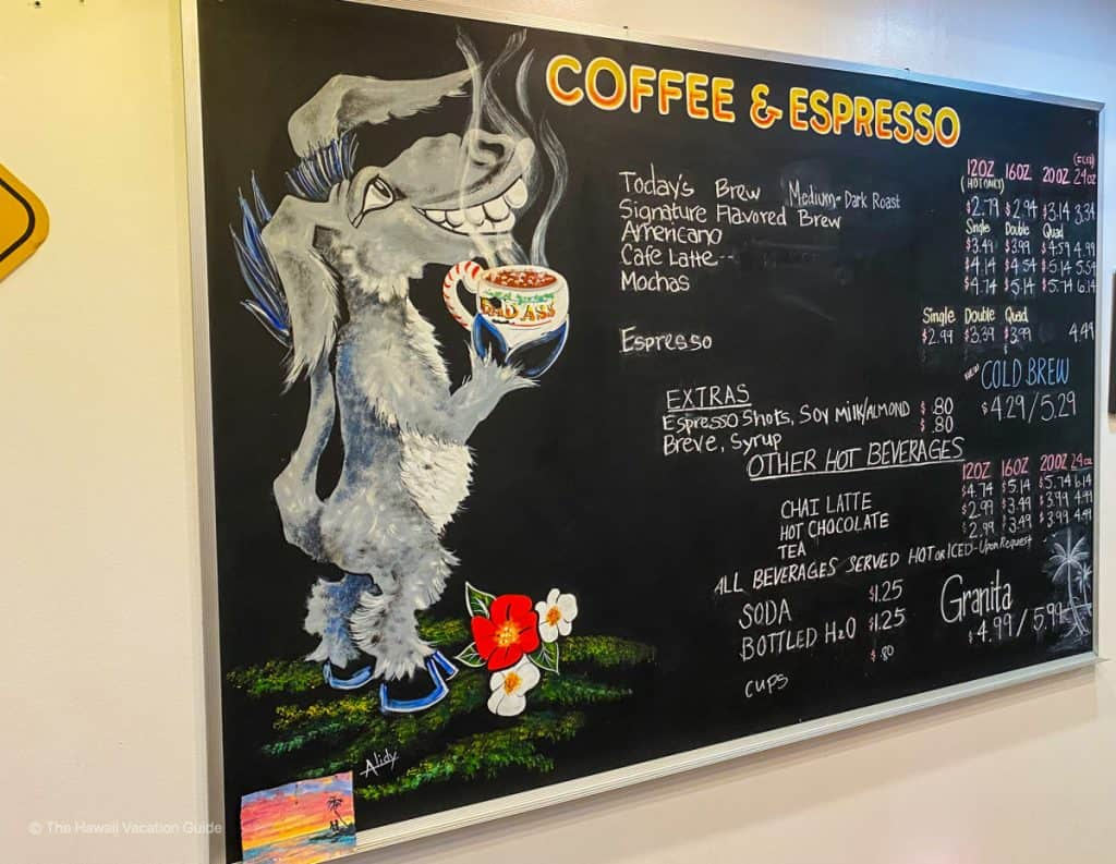 Bad Ass Coffee Shop Lahaina menu
