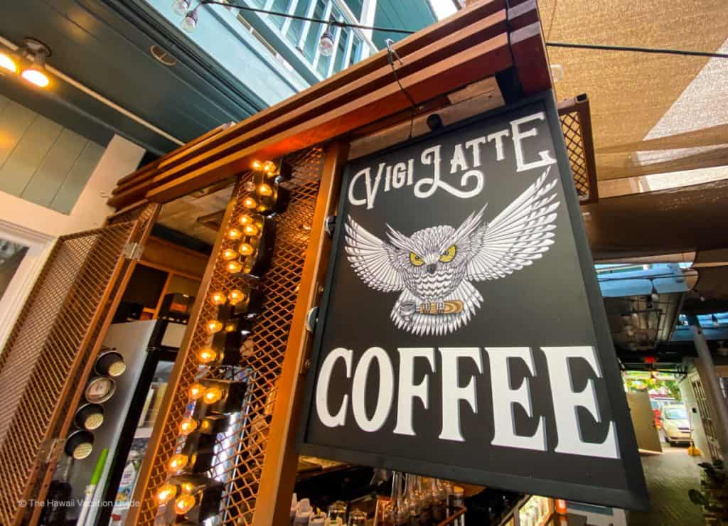 VigiLatte Coffee shop maui sign
