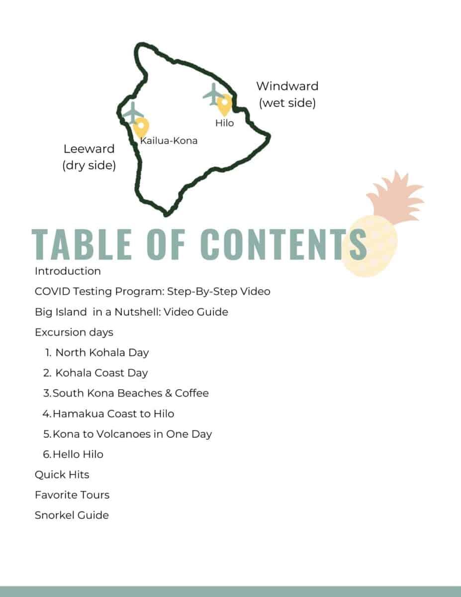 Big Island Itinerary TOC