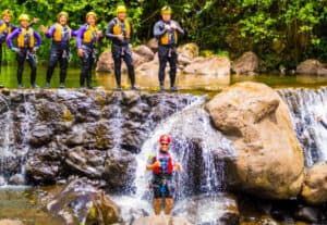 Umauma falls waterfall rappel and swim